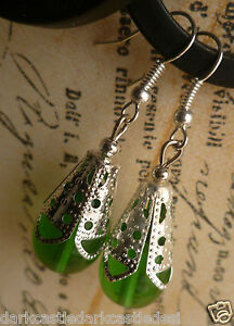 glass teardrop beaded silver plated earrings either black, red, blue, black goth