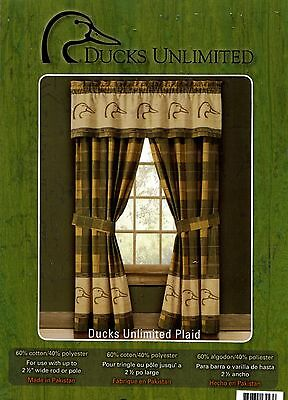 Duck Drapes - Ducks Unlimited Plaid Lined Curtains Drapes w/lined valance 42