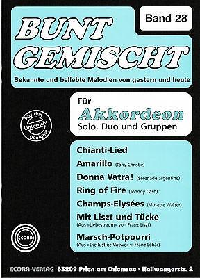 Akkordeon Noten : Bunt gemischt Band 28 mittelschwer  mit  2. Stimme (ad. lib.)