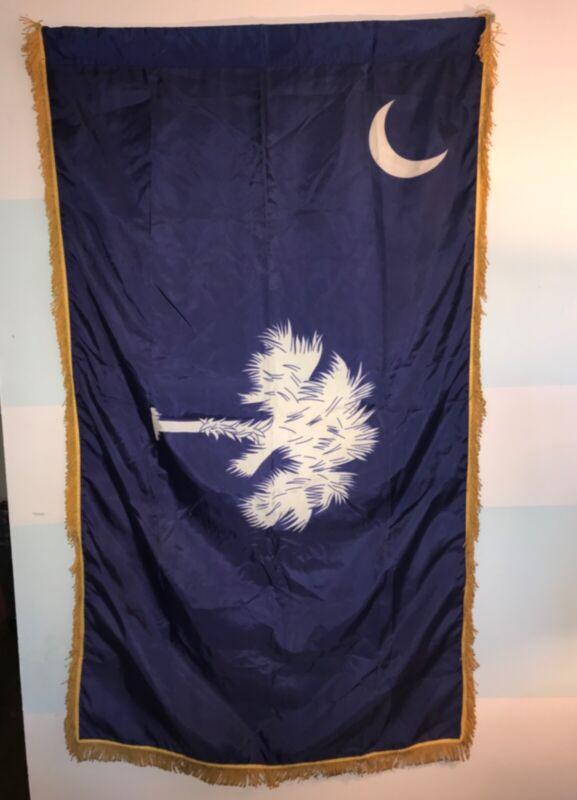 Vintage 1960s Annin Co South Carolina State Palmetto Flag Nylon Gold Fringe 3x5