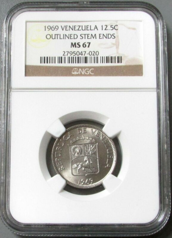 1969 REPUBLIC OF VENEZUELA 12 1/2 CENTIMOS COIN NGC MINT STATE 67