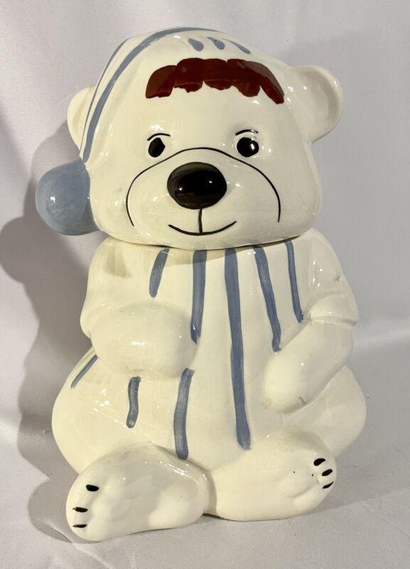 Vintage White Bear In White & Blue Striped Pajamas Cookie Jar