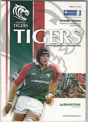 Leicester Tigers v Leeds Tykes 2003/4 (27 Dec) Zurich Premiership