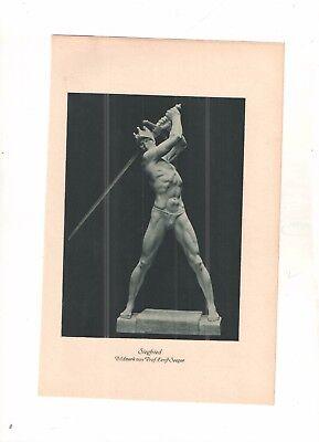 SEEGER Ernst  -  SIEGFRIED    - Statue - alter Druck -  um 1900 - old print