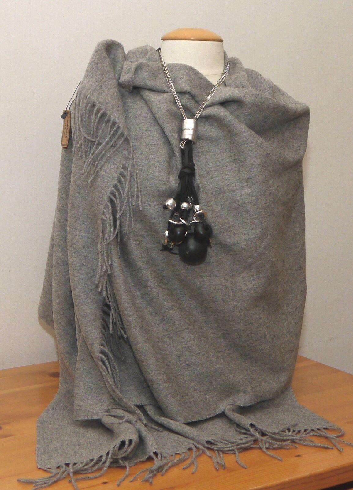 Schal XXL 100% Wolle grau Tuch Stola Schultertuch Pashmina ca.195cm x 70cm NEU