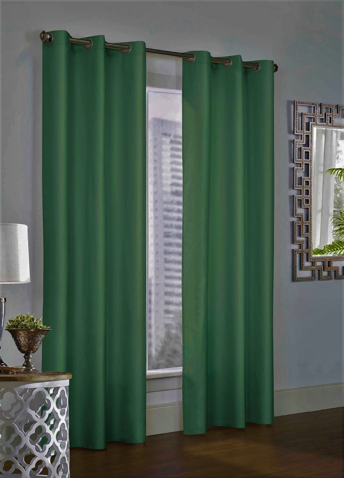 NEW 2 PANEL SOLID LINED THERMAL BLACKOUT GROMMET WINDOW CURTAIN DRAPE NEW JK64
