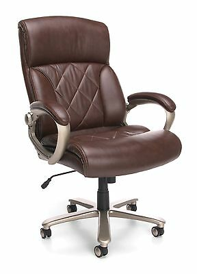 Big Tall 400 Lbs. Capacity Brown Leather Executive Office Desk Chair