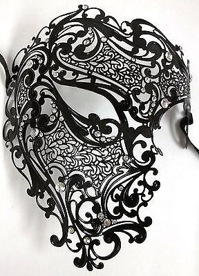 Black Phantom Laser Cut Venetian Mask Masquerade Metal Men Skull - Black Phantom Mask