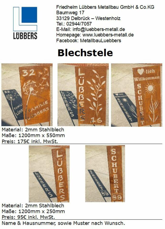Metallstele Roststele Gartenstele Rostoptik in Delbrück