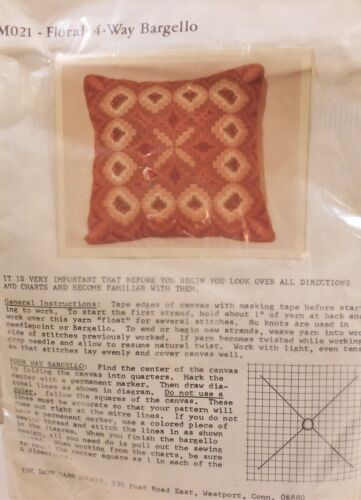 """NIP Vintage Needlepoint Kit FLORAL 4Way BARGELLO 12"""" Pillow Retro Orange & Rust"""