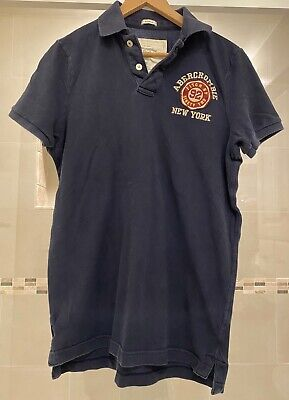VTG abercrombie & fitch Muscle  92 Short Sleve Polo Sz XXL Navy Blue Faded