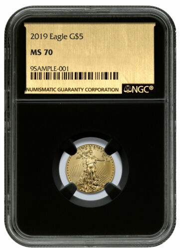 2019 1/10 oz Gold American Eagle $5 NGC MS70 Black Core Gold Foil Label SKU58245