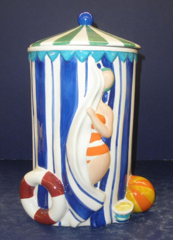 Enesco Daniel Dela Cruz Beach Cabana Cookie Jar- New in Box- Retired- 2003