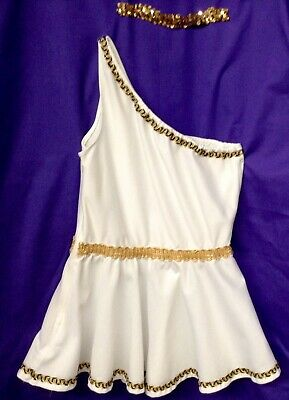 Roman Girl Dress (Roman Girl Dress, Matching Shorts, Gold Sequined Headband, Adult)