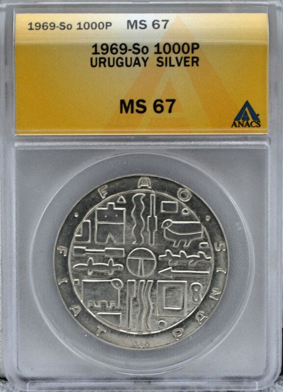 Uruguay 1969 1000 Peso Silver Crown Coin Certified by ANACS MS 67