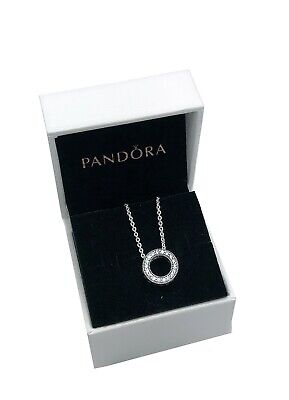 Silver Sparkle Hearts - NEW PANDORA 925 Silver Circle of Sparkle Hearts Pendant Necklace 590514CZ