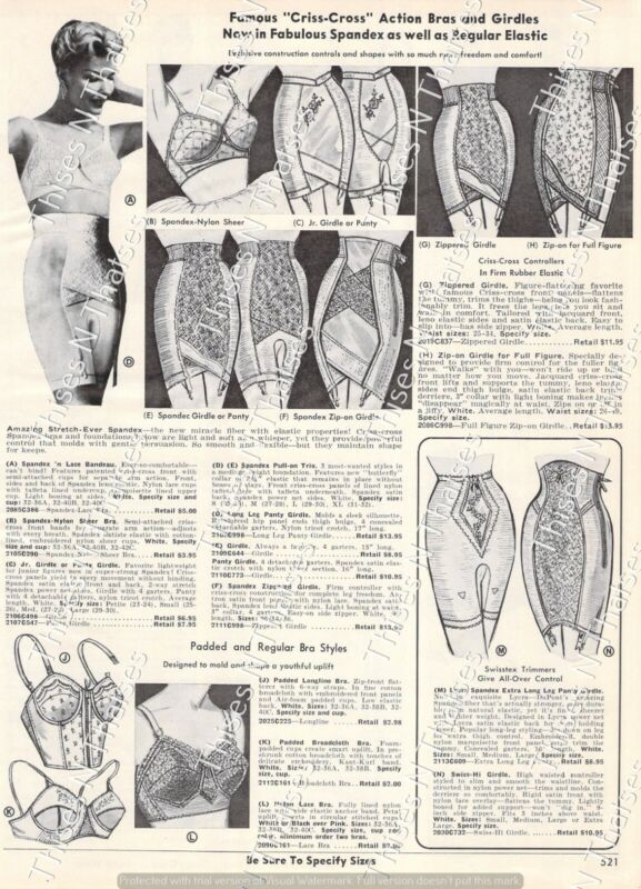 1964 Vtg Ad Criss-Cross Action Bra Girdles Jean Vernon Panties Slips Mid Century