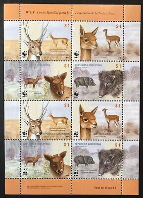 ARGENTINA WWF ANIMAL STAMPS SHEET OF 8v 2002 MNH WILD ANIMALS DEER BOAR #2192, used for sale  Shipping to India