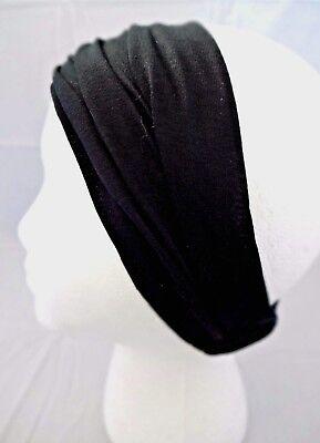 Headband black thin thick cotton jersey extra wide