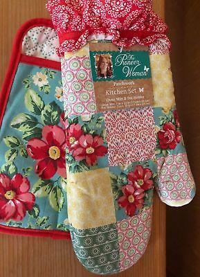 Pioneer Woman Patchwork Kitchen Set Pocket Pot Holder Oven Mitt Red Florals
