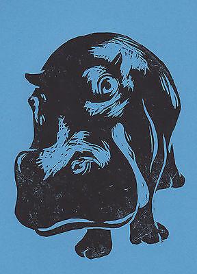 MR HIPPO QUIRKY ANIMAL PORTRAIT Art Print Poster Victorian Vintage Blue Top Hat