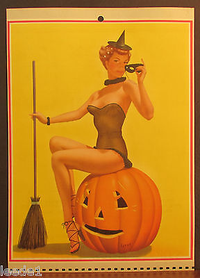 Bill Layne Cute October 1966 Halloween Pumpkin Witch Mask Hat Broom Your Treat](October Halloween Cute)