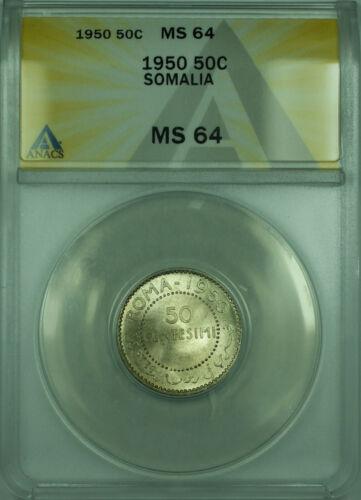 1950 50C Somalia ANACS MS 64 50 Centesimi Silver Coin KM#4