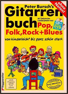 PETER BURSCH Gitarre Book Cd + Dvd Rock Folk Blues Dylan Scorpions Uriah Heep U2