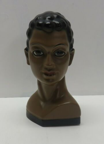 Vintage TILSO Japan African Asian Lady Head Bust - Hand Painted