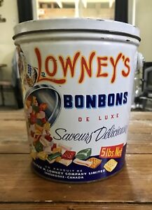 Vintage LOWNEY'S Superior HARD CANDY 5 Lbs Tin Can