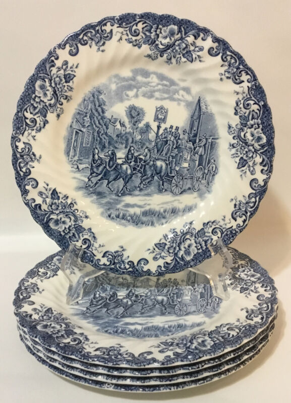 "Johnson Brothers Stroke-on-Trent Coaching Scenes 5 Dinner Plates~9 3/4""~Blue"