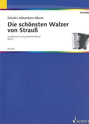 Akkordeon Noten : Die schönsten Walzer von STRAUSS leichte Mittelstufe - mittel