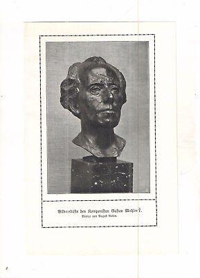 RODIN August -  Gustav Mahler - Komponist  -   alter Druck - old print - um 1900