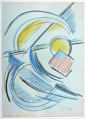 Aquarell Salz (Abstrakt Jakob Salzmann *1942: Farbabstraktion I Farbstift + Aquarell 43 x 30 cm)