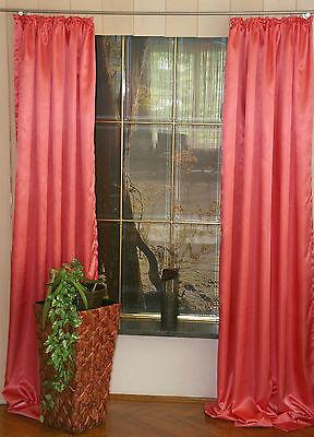 Dekoschal 2 St,Satin, 245 cm, m. Gardinenband, fraise Gardine Vorhang,