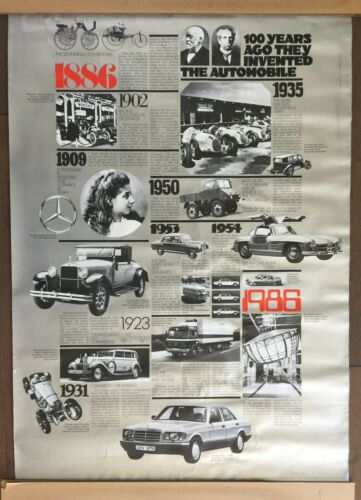 100 Years of Automobiles, Mercedes Benz poster, 1886 to 1986