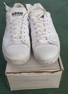 ADIDAS STAN SMITH 2 TRAINERS WHITE NAVY TRIM MENS SIZE 10 VINTAGE CODE 034814