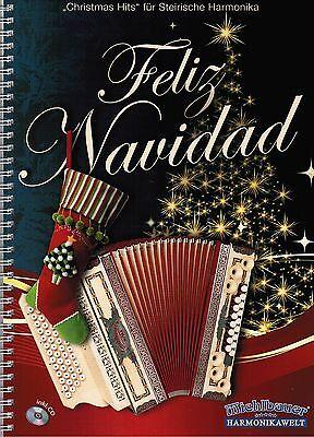 Steirische Harmonika Noten : Feliz Navidad - Christmas Hits - mit CD - mittel