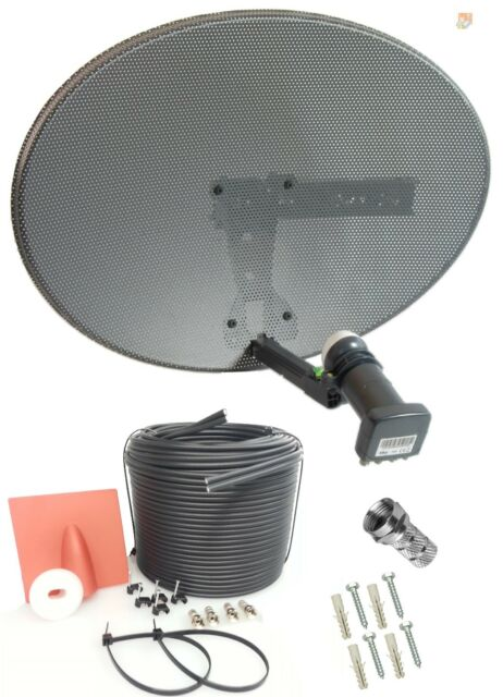 COMPLETE MK4 SATELLITE DISH KIT + SKY HD QUAD LNB & 50M TWIN BLACK COAX CABLE