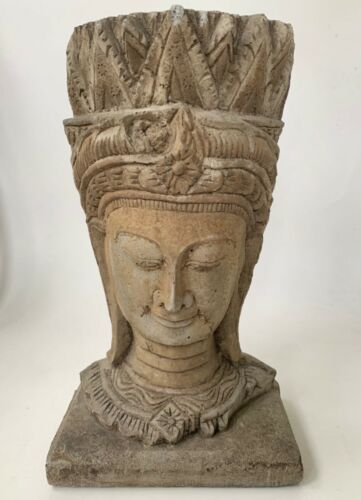 "Head of a Crowned Buddha Carved Stone or Concrete 17"" Tall"