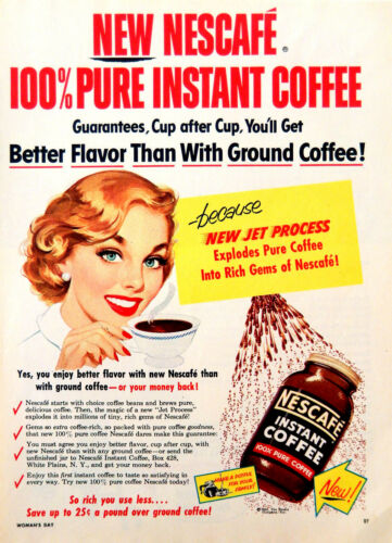 Vintage 1954 Nescafe instant coffee woman advertisement print ad