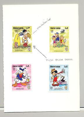 Sierra Leone #731, 733-735, Disney, Mark Twain, Youth Year, UN 4v. imperf proofs