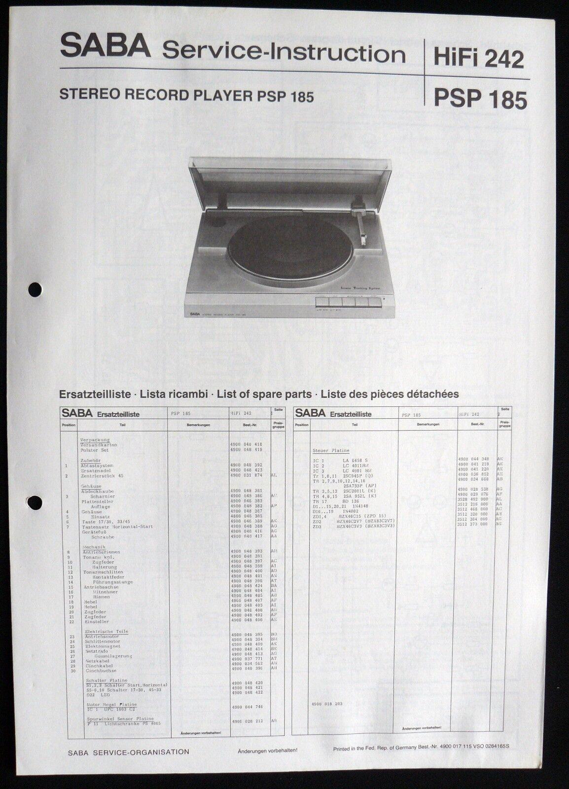 SABA HiFi 242-PSP 185 Plattenspieler Ersatzteillageplan Service-Instruction