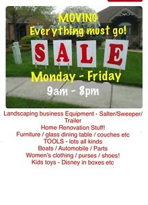 MOVING SALE! - landscape equipment..tools..furniture..clothing