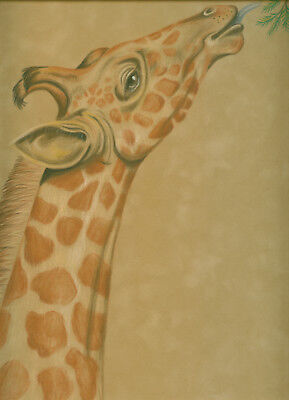 Aceo Giraffe at the zoo eating print reproduction print