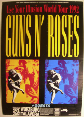 GUNS N ROSES GERMAN CONCERT TOUR POSTER 1992 USE YOUR ILLUSION I & II