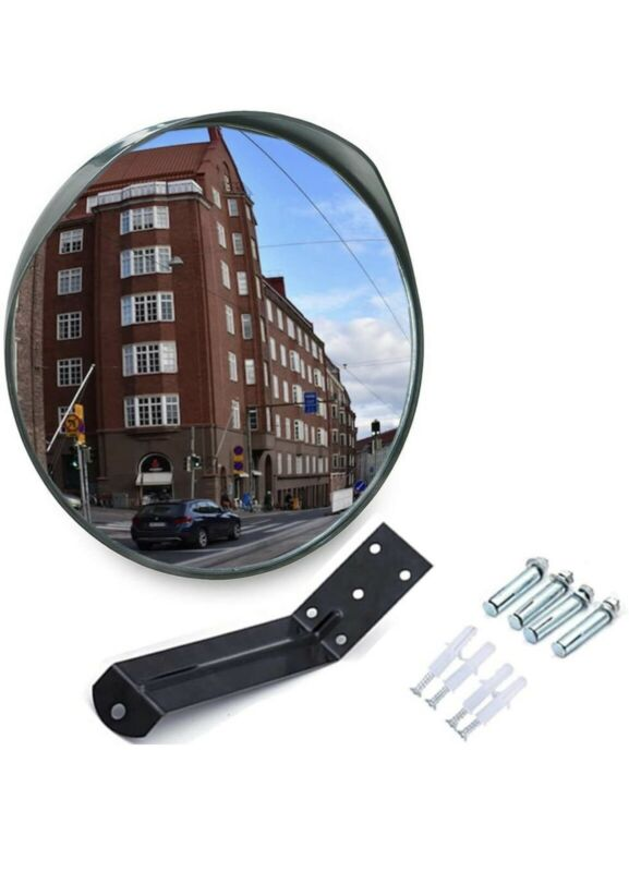 """MEETWARM 12"""" Convex Security Mirror Curved Safety Mirror with Adjustable Fixing"""