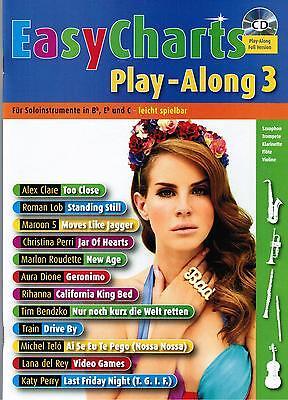 Bläser in Bb, Es und C Noten : EASY CHARTS 3 - mit CD playalong - B-WARE