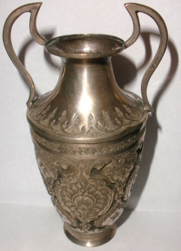 ANTIQUE ARABIC SILVER 19THC URN FORM VASE WITH HANDLES DECORATED MIDDLE EAST