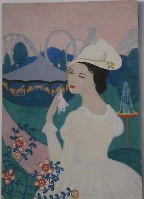 Fashionable Young Woman & the Carousel Oil Painting-1930s-Amalia Ludwig